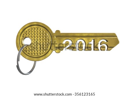 House key 2016 / 3D render of metallic key with year 2016