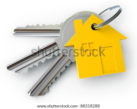 house key with charm, on a white background, 3d render - stock photo