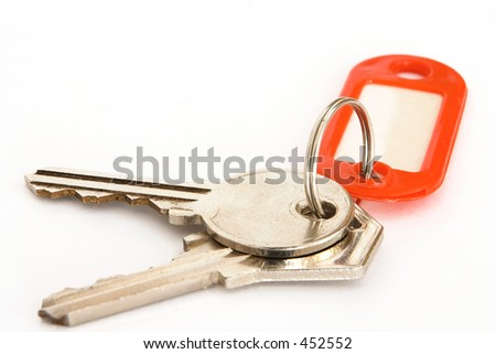 House keys and blank tag - stock photo