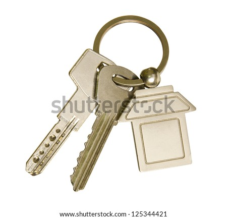 House keys and key-chain on white background - stock photo
