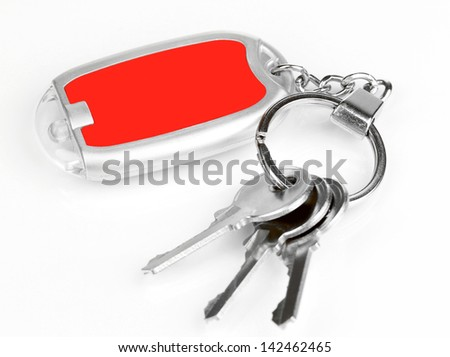 House keys and keychain isolated on white - stock photo