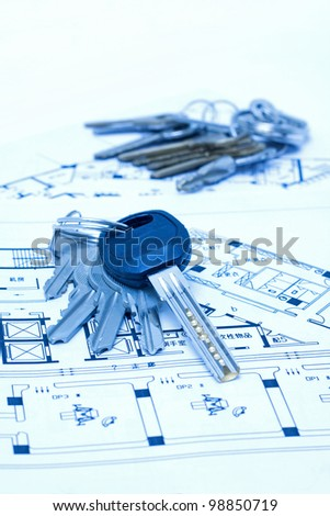 House keys and plan - stock photo