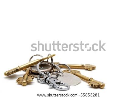 House keys isolated on white - stock photo