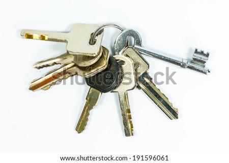 house keys on keyring isolated over white background - stock photo