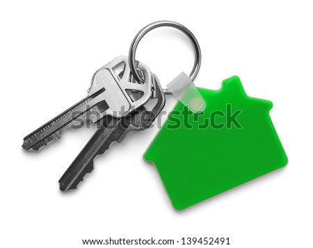 House keys with Green House Key chain Isolated on White Background. - stock photo