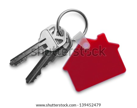House keys with Red House Key Chain Isolated on White Background. - stock photo