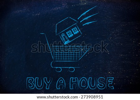 house launched inside shopping cart, concept of buying a property - stock photo