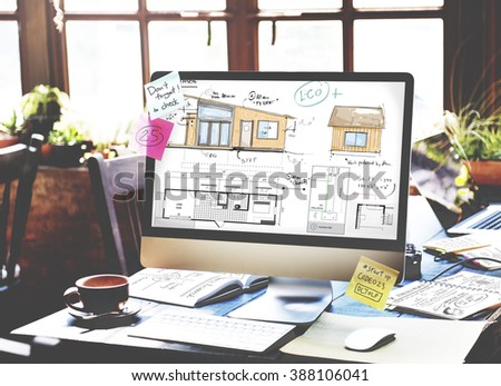 House Layout Floorplan Blueprint Sketch Concept - stock photo