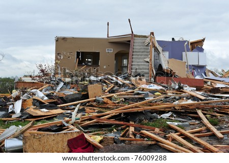 House leveled by a tornado - stock photo