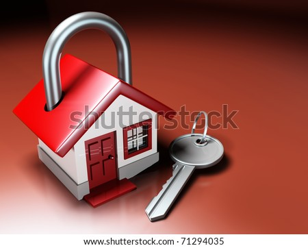 House Lock and Key - stock photo