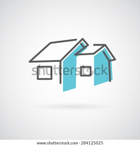 House logo line art style. Trendy icon for building business. Development building Company logo. - stock photo