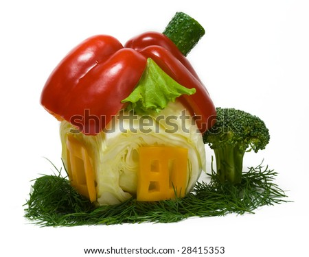 House made from fresh vegetables isolated on white background - stock photo