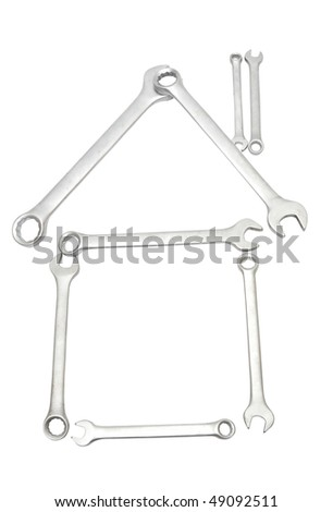 House Made From Wrench isolated on white - stock photo