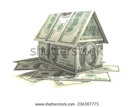House made of American currency banknotes - stock photo