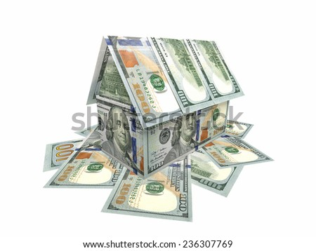 House made of banknotes $ 100 - stock photo