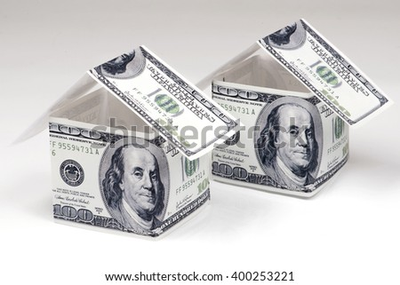 House Made of Cash Money Isolated on White