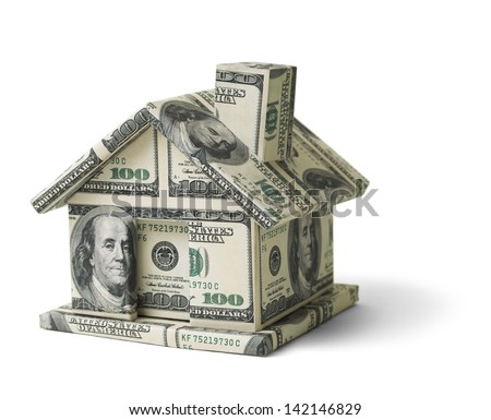 House Made of Cash Money Isolated on White Background. - stock photo