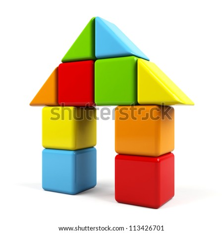 House made of colorful cubes - stock photo