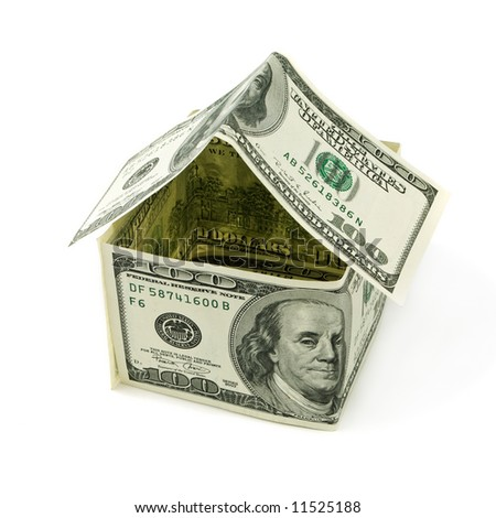 House made of hundred dollars notes, isolated on white. Concept of a mortgage, deposit, saving, investment, etc. - stock photo
