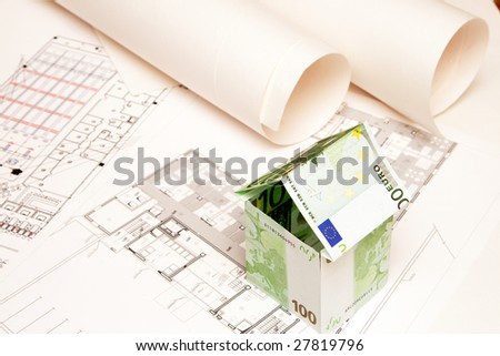 House made money on blueprint stock photo 27819796 shutterstock house made of money on the blueprint malvernweather Image collections