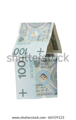 House made of polish banknotes - stock photo