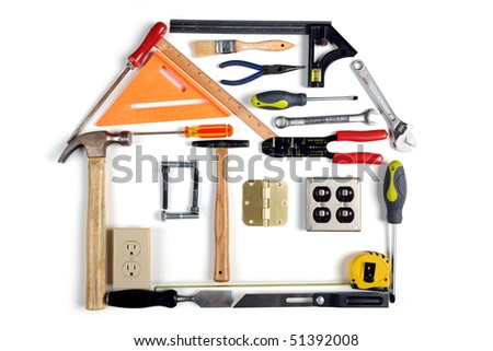 House made of tools over white background - stock photo