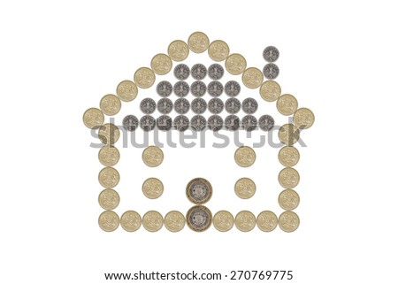 House made out of British Pound Coins - stock photo
