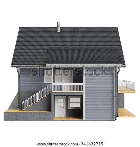 House mansion wooden facade, front view. 3D graphic isolated object on white background