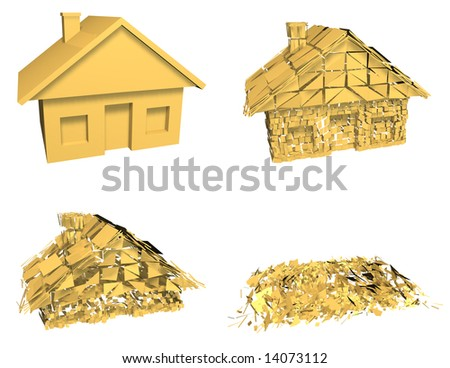 HOUSE MARKET COLLAPSE Gold house model collapsing in a series of 4 stages. Symbol of housing market crash, investment risk, or a downturn in the housing market. Isolated 3D - stock photo