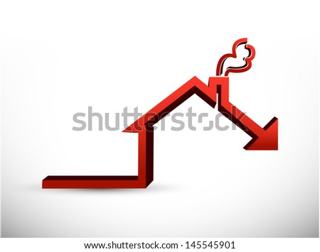 House market falling concept graph illustration design - stock photo