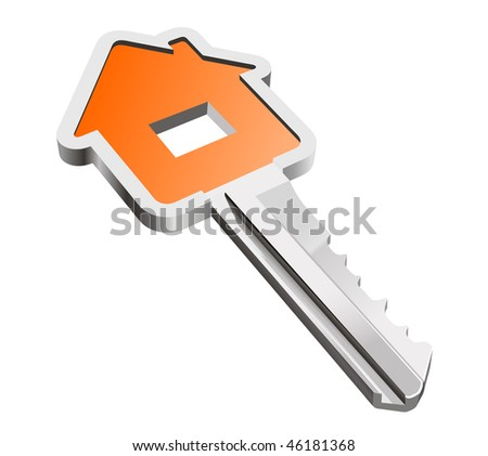 House metallic key isolated on white as a concept of real estate. Vector version is also available - stock photo