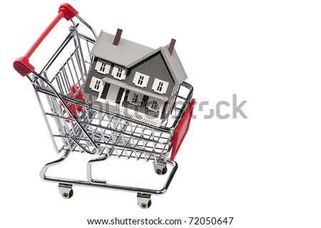 House model in a shopping cart isolated on a white background. Add your text to the space. - stock photo