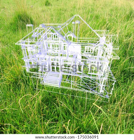 House model on beautiful background. Concept - eco house. - stock photo