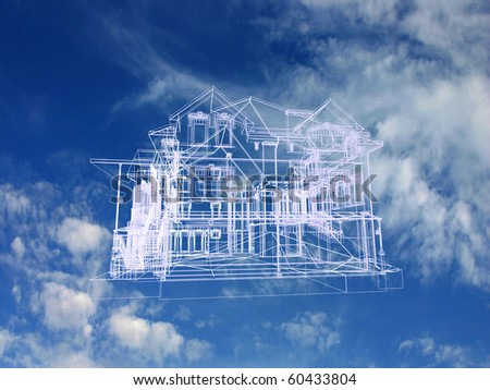 House model on beautiful sky background. Concept - eco house. - stock photo
