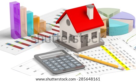 House model with chat bars and calculator isolated on white  - stock photo