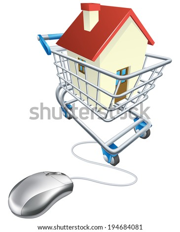House mouse trolley concept, computer mouse connected to shopping trolley with house in it, searching real estate agent sites for house to buy online or similar - stock photo