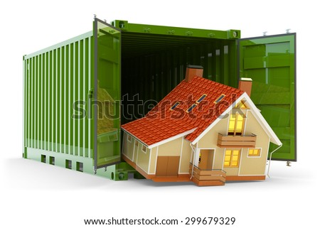 House move, home purchase, freight transportation and delivery concept, modern cottage handling from cargo container isolated on white background - stock photo