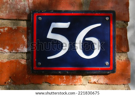 house number 56 - stock photo