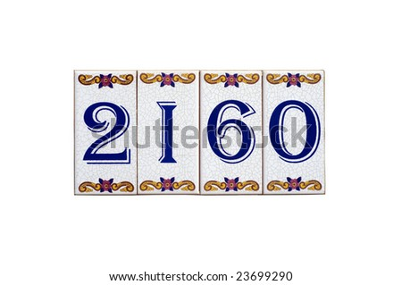 House number plate over white background. - stock photo