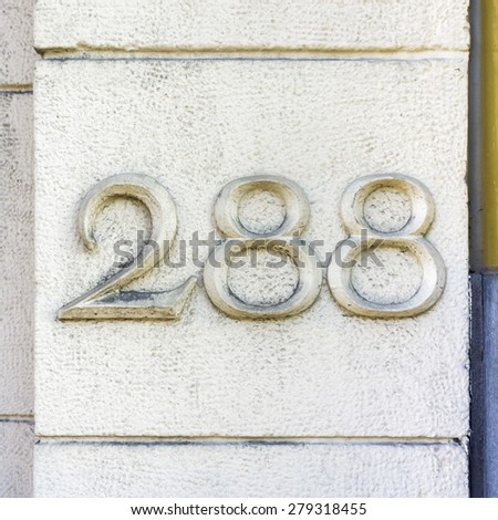 house number two hundred and eighty eight - stock photo