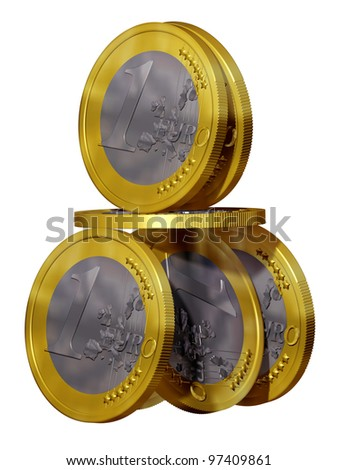 House of cards from Euro coins - stock photo
