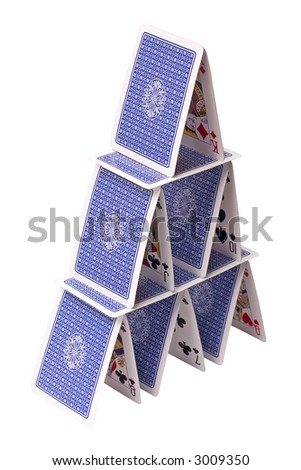 house of cards isolated on white background - stock photo