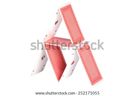 House of cards over white background - stock photo