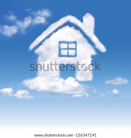 House of clouds in the blue sky on gradient-white background - stock photo