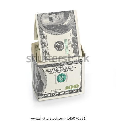 House of dollars. Isolated on white background - stock photo
