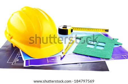 House of felt and drawings isolated on white - stock photo