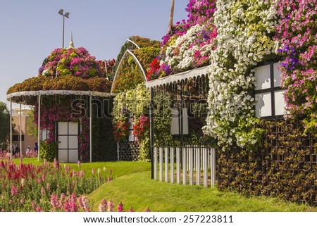 house of flowers in the flower village in the park Dubai Miracle Garden - stock photo