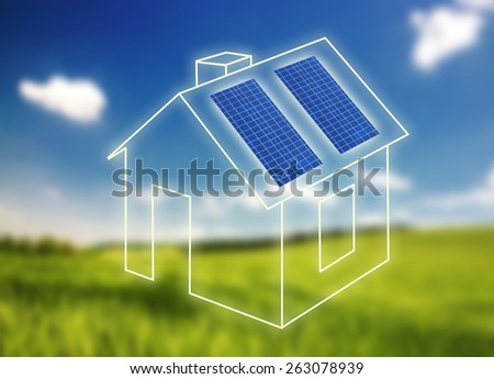 House of frame with solar panels against landscape - stock photo