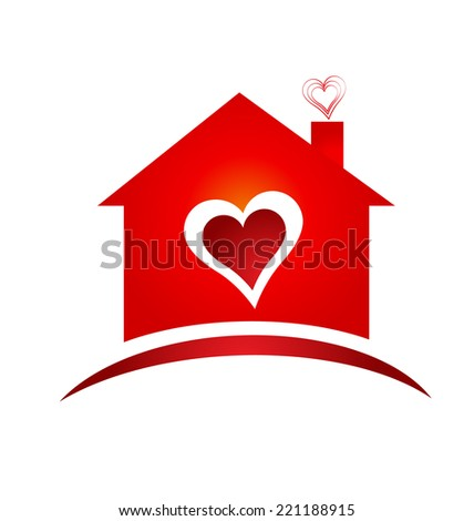 House of heart icon creative design  - stock photo