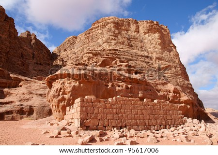 House of Lawrence of Arabia in Wadi Rum desert, Jordan - stock photo